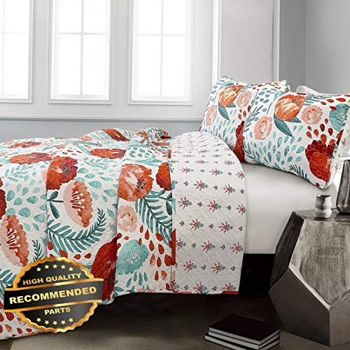Werrox 3pc Poppy Garden Quilt Set Cottage Country Floral Poppies Reversible Farmhouse Size   Quilt Style - Kit Tangerine Bath