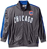 MLB Chicago Cubs Men's Team Reflective Tricot Track Jacket, 3X, Charcoal/Royal
