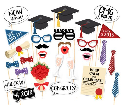 7-gost 30PCS Style 2018 Graduation Party Masks Photo Booth Props Mustache On A Stick Grad Party