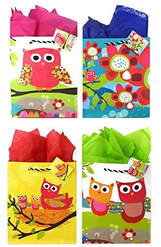 Owl Gift Bags + Tissue Paper (4 Medium Bags + Tissue Paper, Owl Theme) for $<!--$10.99-->