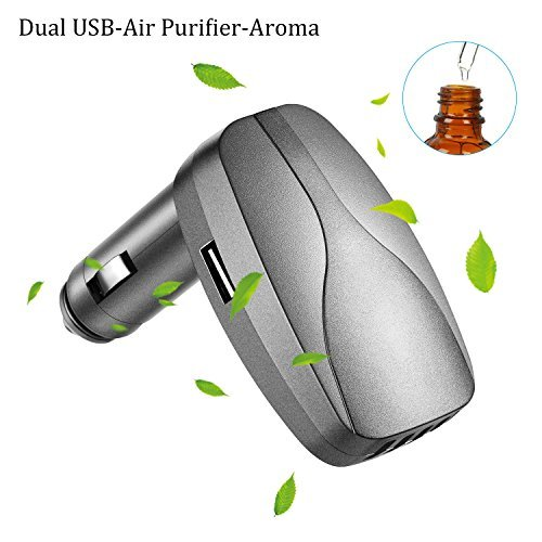 JINPUS Car Charger Adapter, Ionic Air Purifier and Essential Oil Diffuser for Car, Dual USB Port Fast Car Charger,Bad Smell and Odors (Gray) ()