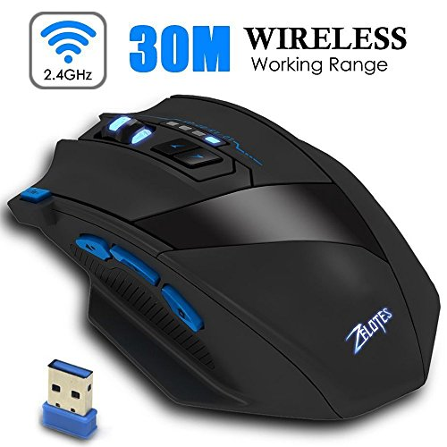 Portable Wireless Adjustable Computer Mouse - Ergonomic Precision Optical  Gaming Mice with USB Receiver, for PC, Laptop, Mac, Notebook, -Black by Zelotes (Image #1)