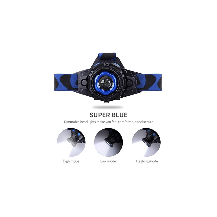 STCT Street Cat Upgraded Rechargeable LED Headlamp Flashlight 3 Modes,Zoomable and Waterproof Headlamp for Free Work, Hiking, Camping, Climbing, Running and Adventure