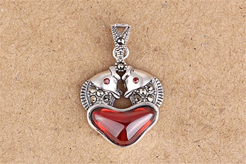 Luoyi 1pc Garnet Kissing Fish Pendant, Thai Silver Marcasite Jewelry Findings (C123Y)