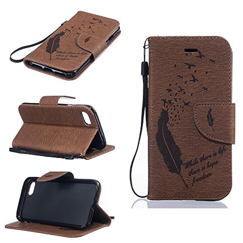 Imprint Feather Wallet Leather Tasche Hüllen Schutzhülle - case with Stand for iPhone 7 4.7 inch - Brown
