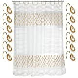 (Rod Not Include)70'' x 72'' Shower Curtain w/12 Hooks Bathroom Bathtub Accessories Liners Decorative Scene Screen Partition Spindle Fabric Contemporary Hand Wipe Machine Wash Gold Color Home Utility