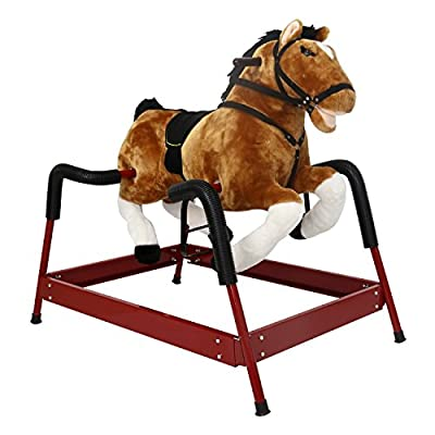 Kinbor Baby Kids Toy Plush Wooden Rocking Horse Boy Riding Rocker with Sound, Dark Brown
