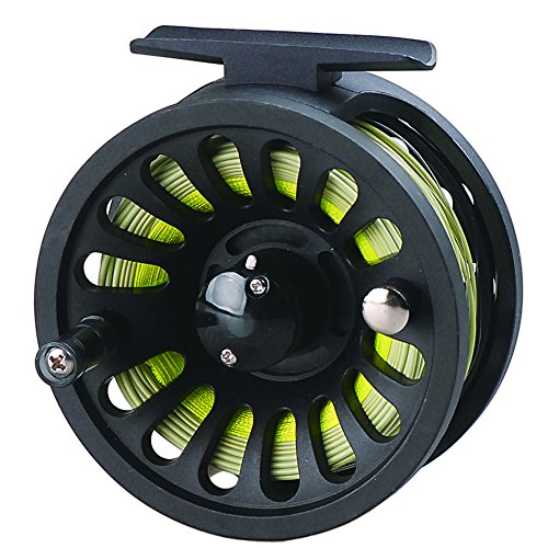 LUREMASTER Pre-Loaded 5/6 WT Fly Fishing Reel with Weight Forward Floating Fly Fishing Line WF5F Backing Line Taper Leader Combo Set for River Stream Fishing - Moss Green