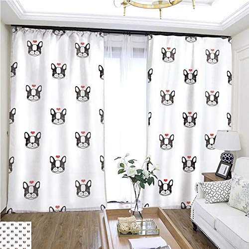 Air Port Screen Dog French Bulldog Love Heart Valentine Puppy Vector Seamless Pattern Wallpaper Background W108 x L83 Christmas Curtain Set Highprecision Curtains for bedrooms Living Rooms kitche