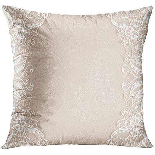 Throw Pillow Cover White Elegant Abstract Design with Lace Pattern Beautiful Luxury Ornate Page Ornamental Wedding Crochet Decorative Pillow Case Home Decor Square 18x18 Inches Pillowcase -