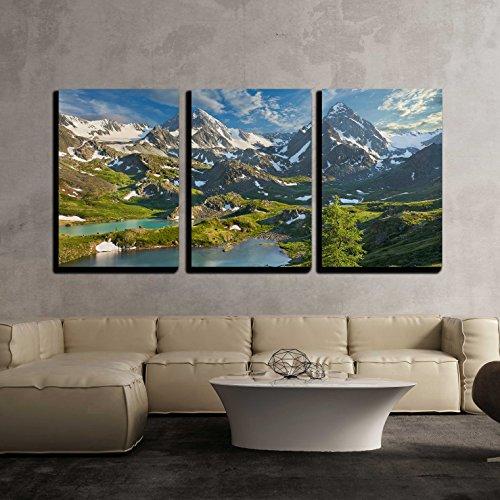 Mountain Lake Russia Siberia Altai Mountains Katun Ridge x3 Panels