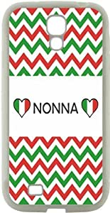 Rikki KnightTM Nonna name on Italian Flag and Green and Red Chevron Design Design Samsung? Galaxy S4 Case Cover (White Hard Rubber TPU with Bumper Protection) for Samsung Galaxy S4 i9500 by icecream design