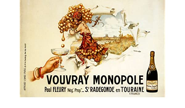 POSTER DRINK WINE AND STAY HAPPY GRAPES COUPLE FRENCH VINTAGE REPRO FREE S//H