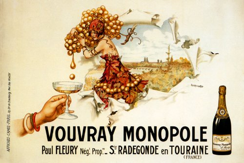 CANVAS Fashion Lady Grapes Champagne Vouvray Monopole Paris France French Vintage Poster Repro 16