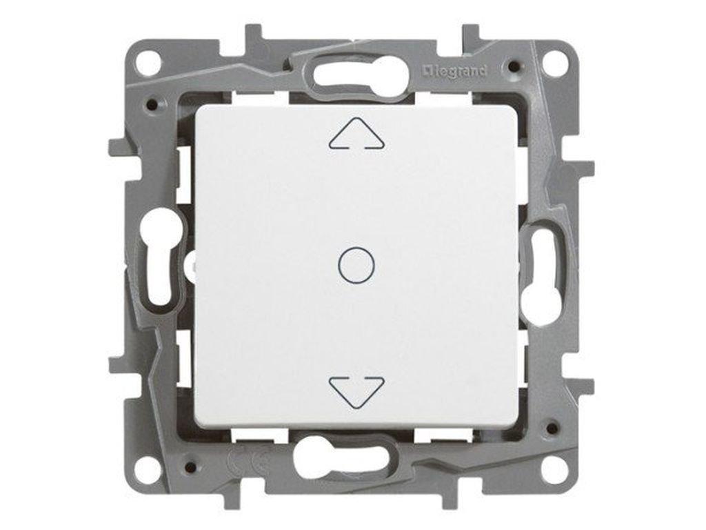 Legrand, 396508 Niloé - Interruptor de persiana, interruptor doble de persianas y toldos, intensidad máxima de trabajo es de 2300W y 10A a 230V, color blanco 396508 Niloé - Interruptor de persiana