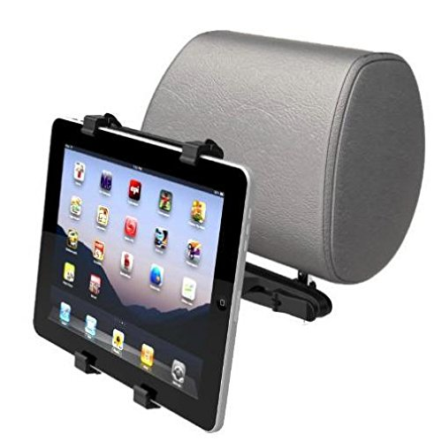 Car Headrest Mount Tablet Holder Rotating Cradle Back Seat Dock Stand Kit Black for iPad 4, Air, 2, Mini, 2, 3, 4, Pro 9.7 - LG G Pad 10.1 7.0 8.0 8.3 F 8.0 - Verizon Ellipsis 7, 8