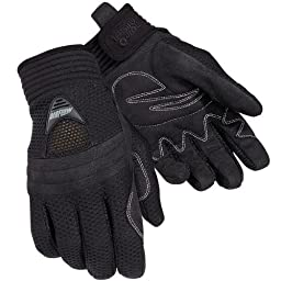 Tour Master Airflow Men\'s Textile Sports Bike Motorcycle Gloves - Black / 2X-Large