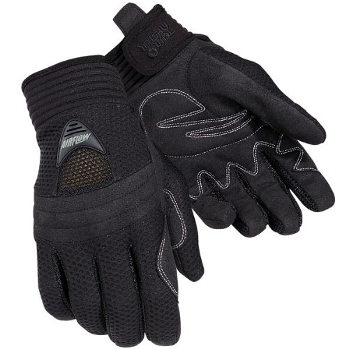 Tour Master Airflow Men's Textile Sports Bike Motorcycle Gloves - Black / (Tour Master Motorcycle Glove)
