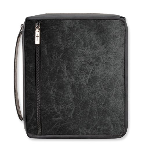 """Enesco Faith & Grace by Gregg Gift Distressed Black Faux Leather Organizer Bible Cover, 7.5"""""""