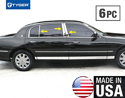 Made in USA! Works with 1998-2011 Lincoln Town Car L Post6PC Stainless Steel Chrome Pillar Post ()