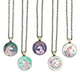BUENAVO Unicorn Pendant Necklace Glass Cabochon Pendant Vintage Art Inspired Necklace with 24 inches Copper Oval Chain Antique Bronze Finish Pendant Handmade for Gifts 5pcs (Unicorn 4)