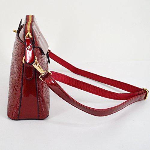 RED Fashion Bags Millya Pattern Leather Chain Bag PU Messenger Alligator Bag WINE shaped Strap Crossbody Shoulder Shell Handbag Women 1pwpqdU
