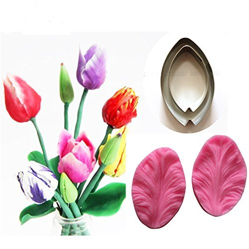 (Carunke Tulips petal Veiner and cutter Silicone Flowers Sugarcraft Cake Decorating)