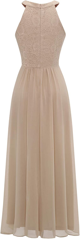 Dressystar Womens Halter Long Bridesmaid Dress Prom Dress Formal Wedding Party Gown