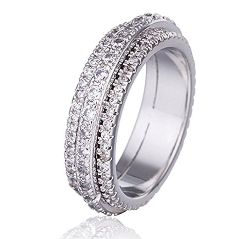 New Mens Titanium Diamond Ring - Rotatable Ring Fashion Diamond Swievl Little Finger Rings New Hot Styl Jewelry (7)