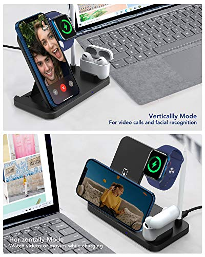Yemo 4 in 1 Wireless Charging Station Dock Compatible with Apple iWatch Series SE 6 5 4 3 2 1, AirPods Pro and Pencil, Fast Wireless Charger Charging Stand for iPhone 12, 11, 11 Pro max, Xr Xs max, X