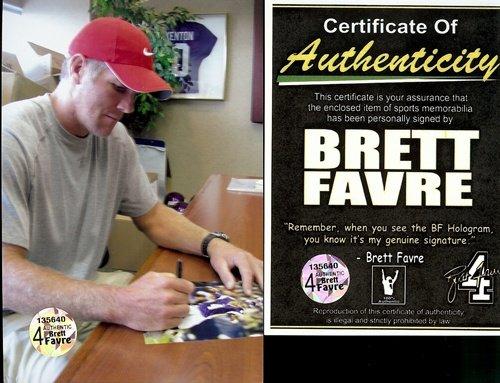 "Brett Favre Autographed/Signed Minnesota Vikings 16X20 NFL Photo #1 ""Throwing"""