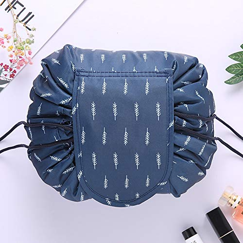 VOJUAN Casual Waterproof Women Toiletry Bags Folding Large Capacity Lazy Cosmetic Bags (Blue feather)