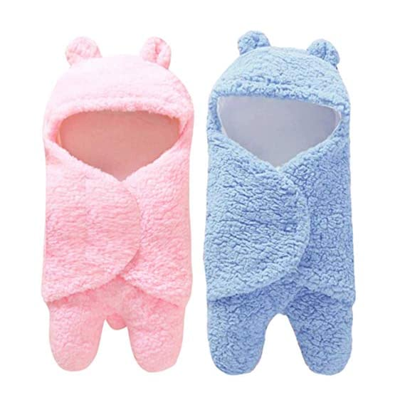 BRANDONN Baby Boy's and Girl's 3 in 1 Fleece Safety Blanket Sleeping Bag (Pink and Blue) - Pack of 2