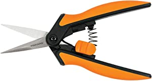 Fiskars Softouch Micro-Tip Pruning Snip, Non-Coated Blades, Orange/Black (399240-1003)