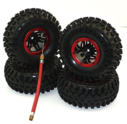 4Pack Air Filled Inflated 2.2 Bead Lock Wheel Tire System for 1:10 1:8 Rc Crawler SCX10 D90 AXIAL
