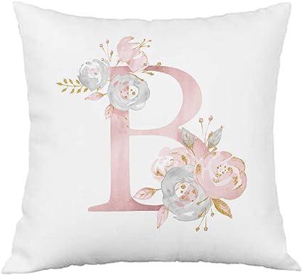 Hangood Pink Flowers Alphabet Letter Cushion Covers A 12x20 Soft Throw Pillow Cover 30cm x 50cm A