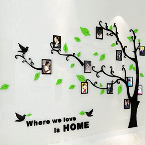 Beddinginn Green Tree Wall Sticker with Photo Frames DIY Large Family Tree Wall Decal Removable Acrylic Branches Wall Sticker for Home Decor 69×91