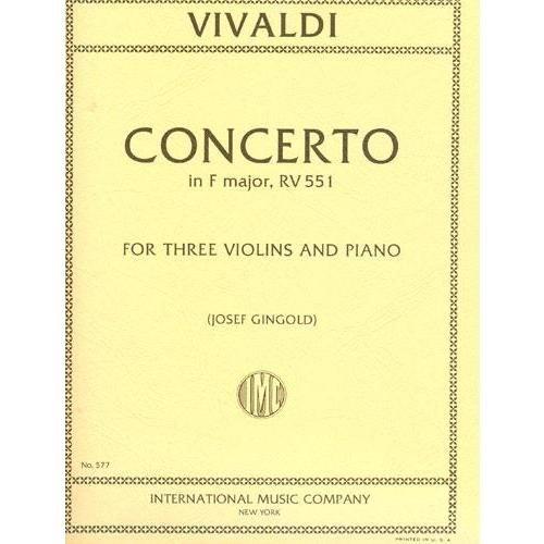 Vivaldi Antonio Concerto in F Major Op 23 No. 1 RV 551 For Three Violins and Piano by Josef Gingold