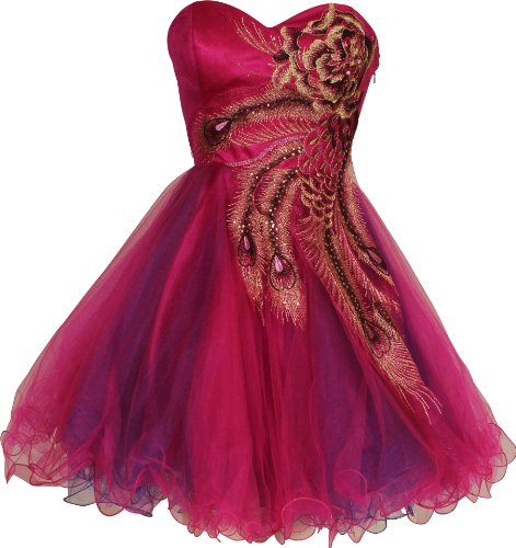 Metallic Peacock Embroidered Holiday Party Homecoming Prom Dress Small Fuchsia