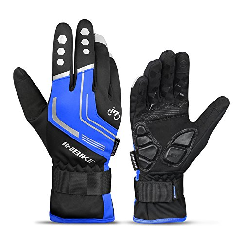 INBIKE Mountain Bike Gloves Cycling Gloves MTB Winter Gloves Silicone Gel Pad Gloves Touch Recognition Full Finger Blue XX-Large