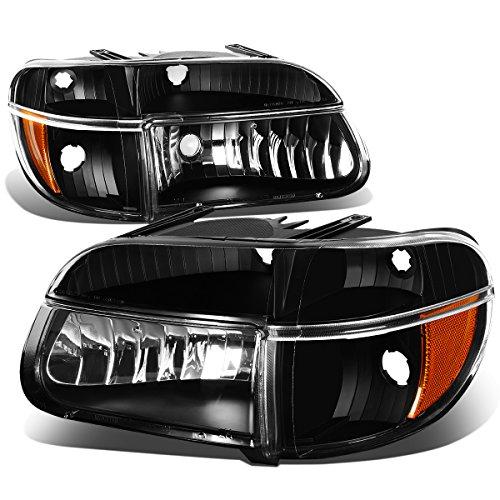 Headlights Amber Corner Lights (Ford Explorer/Mountaineer Pair of Black Housing Headlights & Amber Corner Lights)