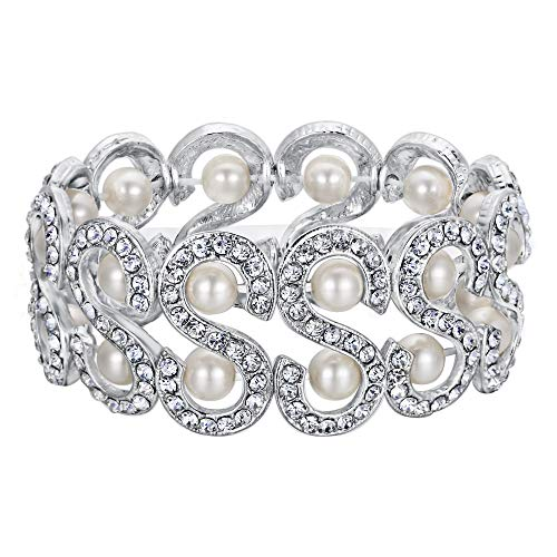 BriLove Women's Wedding Bridal Crystal Simulated Pearl Multi S-Shape Tennis Stretch Bracelet Clear Silver-Tone ()