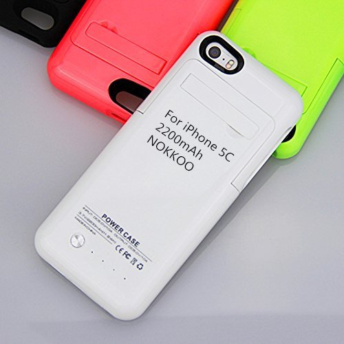 NOKKOO Rechargeable Battery Case 4200 mAh/2200 mAh for iPhone 5/5S/5C Charger Case Portable Charging Case with LED Display and USB Port Backup Power Emergency Power Supply (White, 2200mAh i5C)