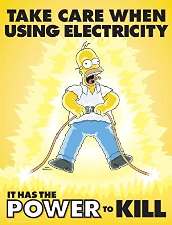 Simpsons Electrical Safety Poster - Take Care When Using Electricity