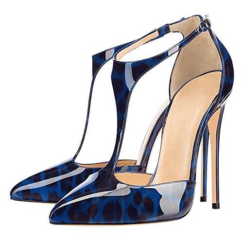 Spangen T Lackleder Party Heels High für Übergröße Damenschuhe Blau uBeauty Hochzeit Leopard Pumps 6qTXB6