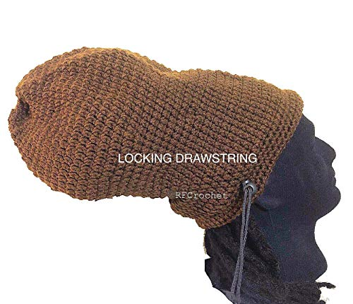 Dreadlock Crochet Beanie with Locking Drawstring - Cocoa Brown, Long Hair, Large Hat Size