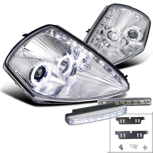 Spec-D Tuning L18-LHPELP00CRS Fog Headlight (Mitsubishi Eclipse Chrome SMD Halo Projector LED Lamp) ()