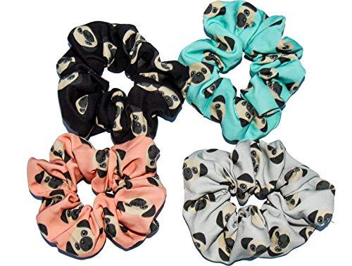 Pug Dog Hair Scrunchies 4 Pack Cotton Elastic Hair Bands Scrunchy Hair Ties Ropes Scrunchie for Women or Girls Hair Accessories