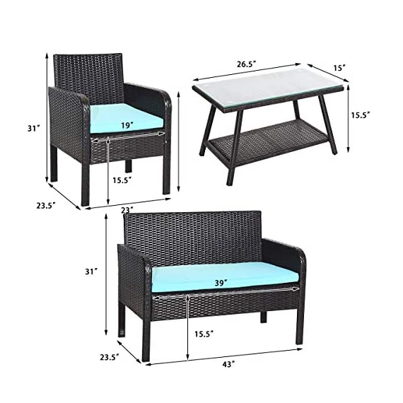 Tangkula 4 Piece Patio Outdoor Conversation Set with Glass Coffee Table, Loveseat & 2 Cushioned Chairs Garden Lawn Rattan Wicker Patio Chat Set Outdoor Furniture Set (Blue) (1) - Sturdy Frame & Hand-Woven Rattan: Our 4-piece patio furniture set is made of superior steel and premium PE rattan that ensures the stability and durability. And the exquisite craftsmanship improves overall weight capacity. Besides, the set can withstand moderate wind or rain. Ergonomic Chair with Waterproof Cover: At the front of the armrest, the corner is designed in round which accord with your line of hand and wrist. And the height of armrest is not too high or too low to relax your hand or arm. What's more, the zippered cover of the cushion can be removed from cushion and cleaned conveniently. Glass Top Table with Shelf: The tempered glass is fixed by 4 suckers and it won't move freely. And the top is removable so that it is easy to clean if the top is dirty. Besides, the lower shelf can provide additional storage space for you to store some sundries. At the bottom of the table, there are 4 pads to prevent slip and protect ground. - patio-furniture, patio, conversation-sets - 51QDTsdCXYL. SS570  -