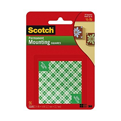 Scotch(R) Foam Mounting Squares Permanent ZSXQJ , 1/2 x 1/2-Inches, White , ()
